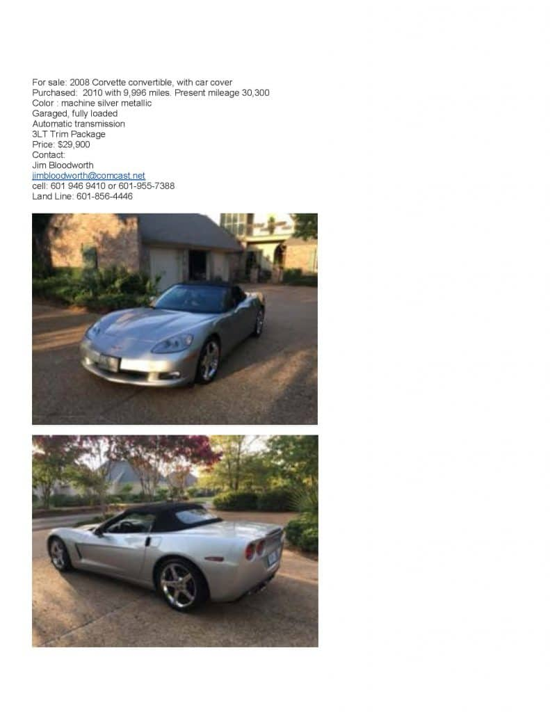 For Sale 2008 Corvette Convertable