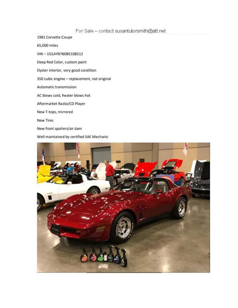 For Sale 1981 Corvette Coupe